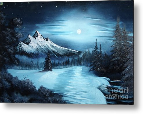 Painting Metal Print featuring the painting Winter Painting A La Bob Ross by Bruno Santoro