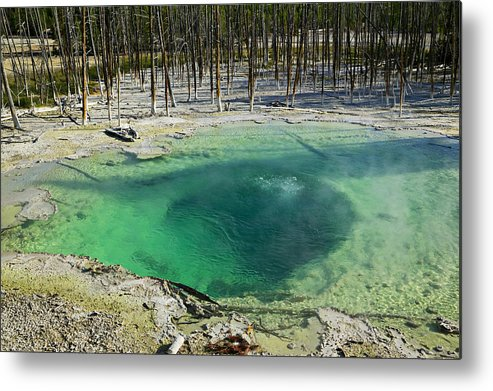 Hot Springs Yellowstone Midway Hot Springs Yellowstone Hot Metal Print featuring the photograph Hot Springs Yellowstone National Park by Garry Gay