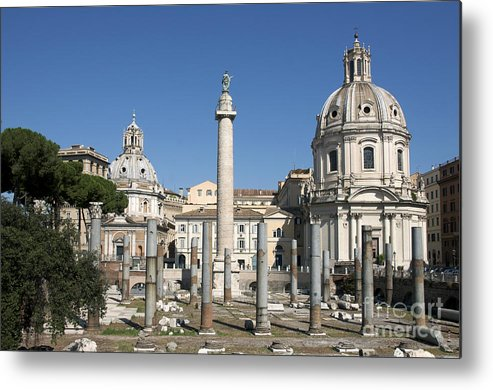 Worth Metal Print featuring the photograph Imperial Fora With The Trajan's Column And The Church Santissimo Nome Di Maria. Rome by Bernard Jaubert