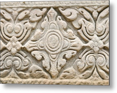 Nakhon Ratchasima Province Metal Print featuring the sculpture Sandstone Carving by Kanoksak Detboon