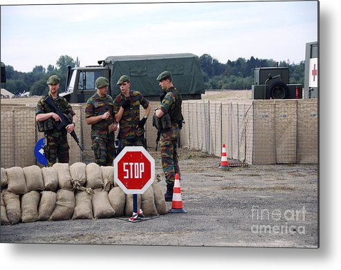 Armed Forces Metal Print featuring the photograph Scenery Of A Checkpoint Used by Luc De Jaeger