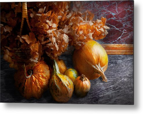 Pumpkin Metal Print featuring the photograph Autumn - Gourd - Still Life With Gourds by Mike Savad