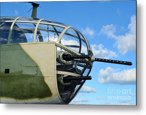 North American B-25j Mitchell Metal Print featuring the photograph B-25j Nose by Lynda Dawson-Youngclaus