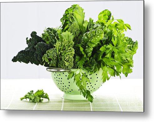 Dark Green Metal Print featuring the photograph Dark Green Leafy Vegetables In Colander by Elena Elisseeva