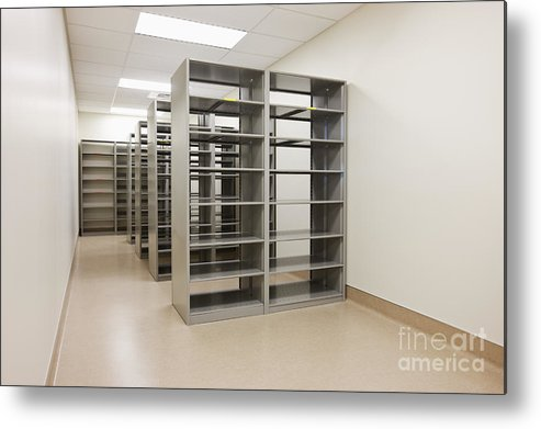 Architecture Metal Print featuring the photograph Empty Metal Shelves by Jetta Productions, Inc