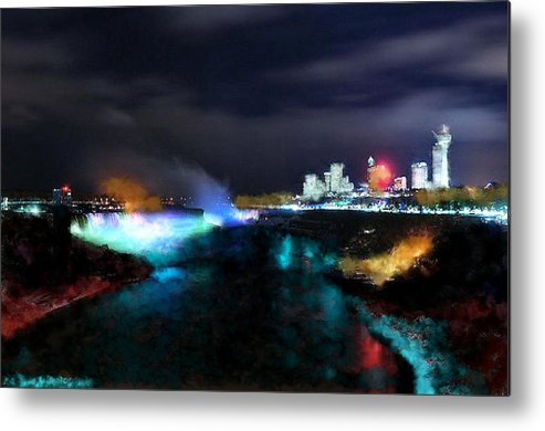 Nature Metal Print featuring the digital art Falls by Ilias Athanasopoulos