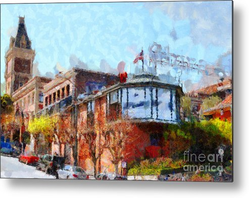 San Francisco Metal Print featuring the photograph Ghirardelli Chocolate Factory San Francisco California . Painterly . 7d14093 by Wingsdomain Art and Photography