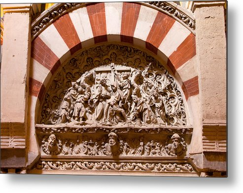 Mezquita Metal Print featuring the photograph Mezquita Cathedral Religious Carving by Artur Bogacki