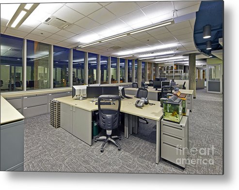 Architectural Design Metal Print featuring the photograph Office Work Stations by Francis Zera