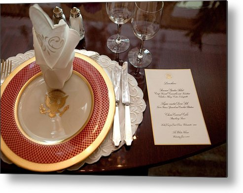 History Metal Print featuring the photograph Place Setting Of The White House China by Everett