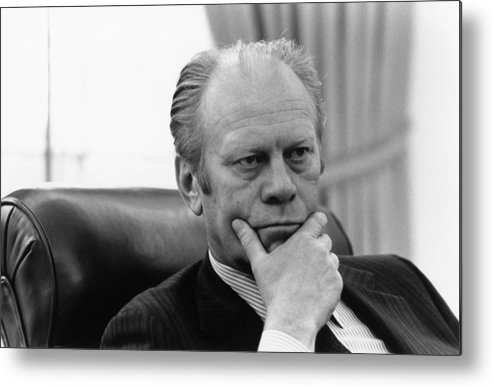 History Metal Print featuring the photograph President Gerald Ford Listening by Everett