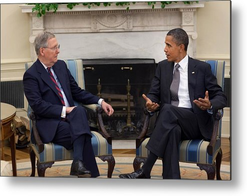 History Metal Print featuring the photograph President Obama Meets With Senate by Everett