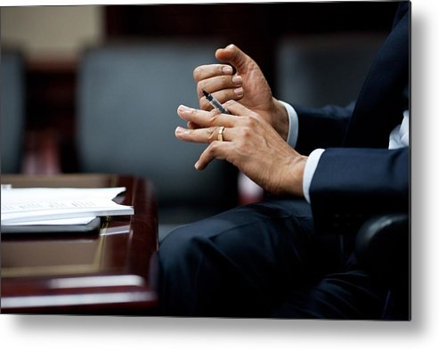 History Metal Print featuring the photograph President Obamas Hands Gesture by Everett