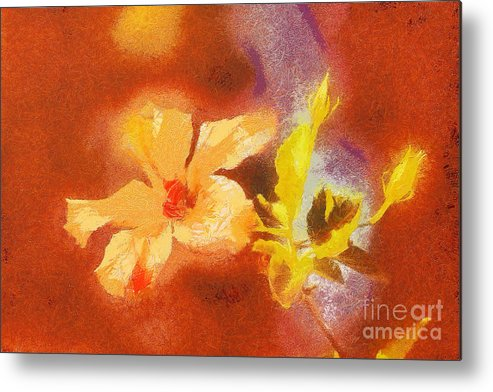 Odon Metal Print featuring the painting The Iris Flower by Odon Czintos
