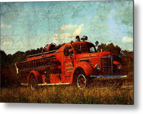 Fire Truck Metal Print featuring the photograph Old Fire Truck by Off The Beaten Path Photography - Andrew Alexander