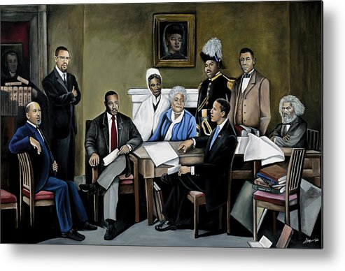 President Barack Obama Metal Print featuring the painting One Day by Stacy V McClain