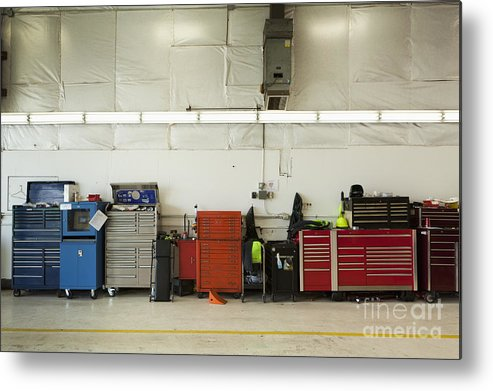 Auto Metal Print featuring the photograph Tool Chests In An Automobile Repair Shop by Don Mason