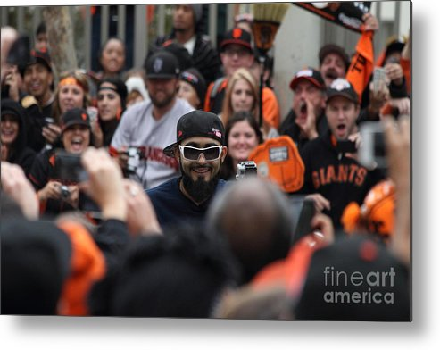 Sport Metal Print featuring the photograph 2012 San Francisco Giants World Series Champions Parade - Sergio Romo - Dpp0007 by Wingsdomain Art and Photography