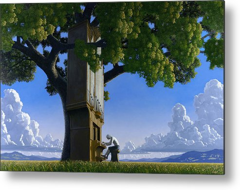 Landscape Metal Print featuring the painting Bach In Heaven by Jonathan Day