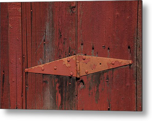 Red Door Henge Metal Print featuring the photograph Barn Hinge by Garry Gay