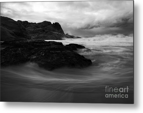 Beach Metal Print featuring the photograph Black Rock Swirl by Mike Dawson