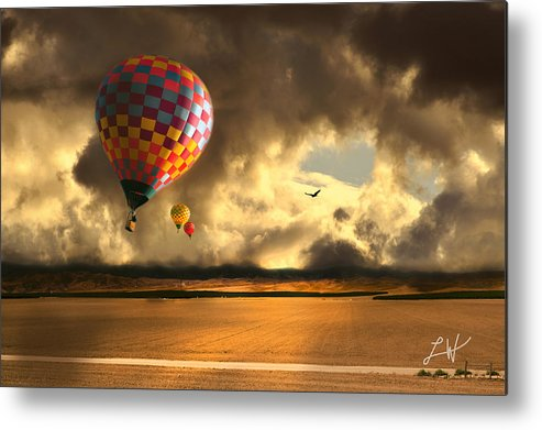Hot Air Balloon Ride Metal Print featuring the photograph Blue Skies Ahead by Artist and Photographer Laura Wrede