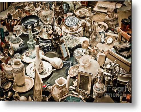 Old; Antique; Vintage; Retro; Background; Style; Art; Decor; Decorating; Decoration; Grunge; Antiquities; Object; Old-fashioned; Classic; Collection; Valuable; Junk; Together; Gathered; Metal Print featuring the photograph Chaos by Gabriela Insuratelu