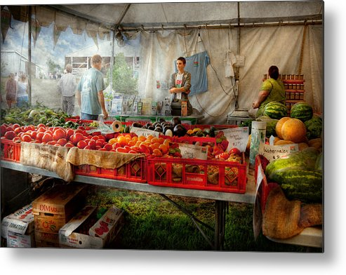 Chef Metal Print featuring the photograph Chef - Vegetable - Jersey Fresh Farmers Market by Mike Savad