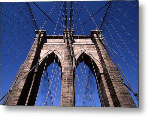Landscape Brooklyn Bridge New York City Metal Print featuring the photograph Cnrg0409 by Henry Butz