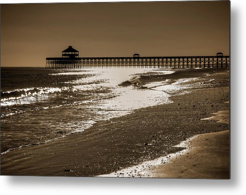 Folly Metal Print featuring the photograph Folly Pier Sunset by Drew Castelhano