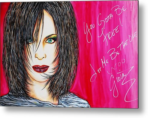 Autographed Metal Print featuring the mixed media Let Me B Free And The One by Joseph Lawrence Vasile
