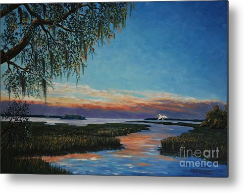 Sunset Metal Print featuring the painting May River Sunset by Stanton Allaben