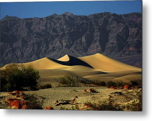 Death Valley National Park Metal Print featuring the photograph Mesquite Flat Dunes - Death Valley California by Christine Till