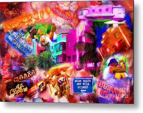 Southbeach Metal Print featuring the mixed media Miami Deco by Marilyn Sholin