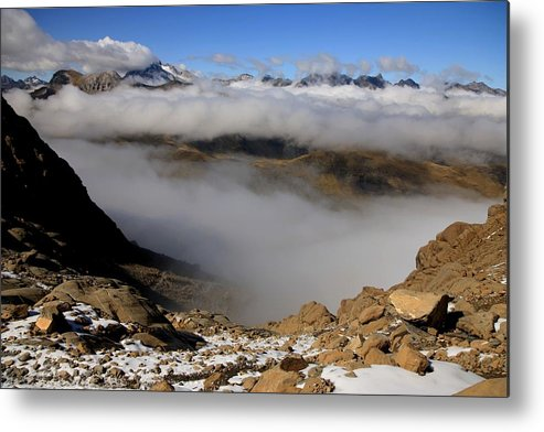 Pyrenees France Mountain Clouds Snow Ardiden National Park Stones Hiking Climbing Metal Print featuring the photograph Mist On Ardiden Range by Frederic Vigne