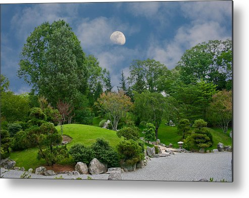 Moon Metal Print featuring the photograph Moonrise Meditation by Charles Warren