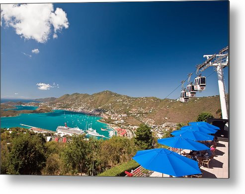 Aerial Tramway Metal Print featuring the photograph Paradise Point View Of Charlotte Amalie Saint Thomas Us Virgin Islands by George Oze