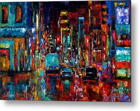 Cityscape Metal Print featuring the painting Party Of Lights by Debra Hurd