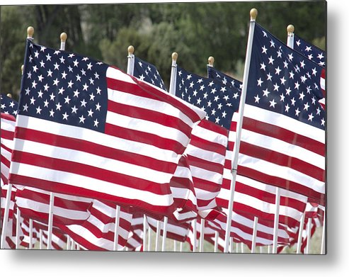 Flag Metal Print featuring the photograph Red White And Blue by Jerry McElroy