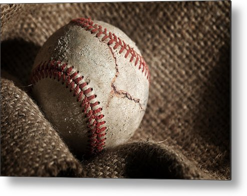 Baseball Metal Print featuring the photograph Ripped One by Tom Mc Nemar