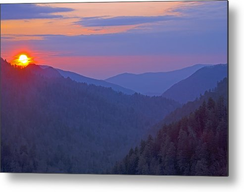 Sunset Metal Print featuring the photograph Sunset In Great Smoky Mountain National Park Tennessee by Brendan Reals