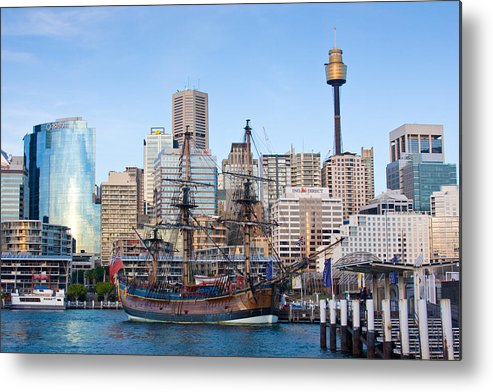 Sydney Metal Print featuring the photograph Tall Ships - Sydney Harbor by Charles Warren