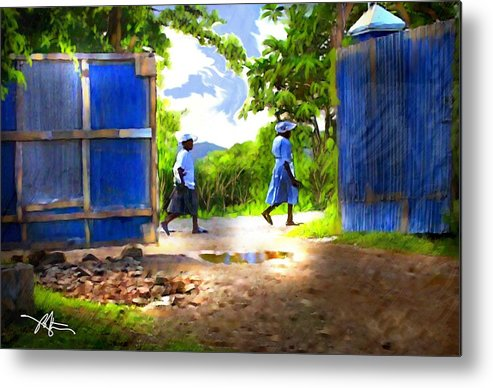 Impressionism Metal Print featuring the painting The Blue Gate by Bob Salo