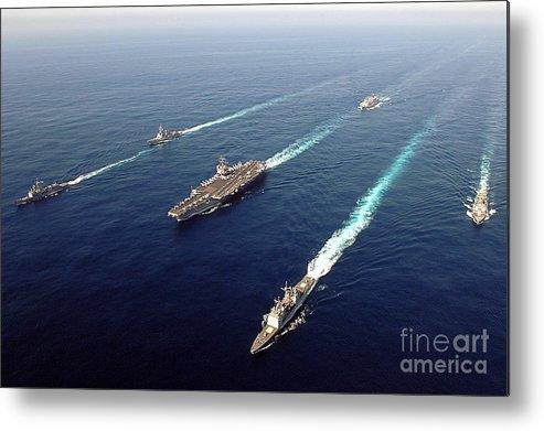 Uss Enterprise Metal Print featuring the photograph The Enterprise Carrier Strike Group by Stocktrek Images