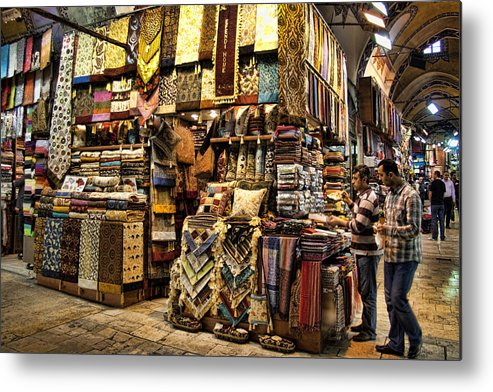 Turkey Metal Print featuring the photograph The Grand Bazaar In Istanbul Turkey by David Smith