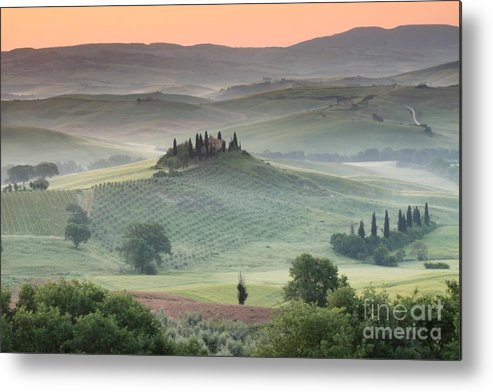 View Of The Countryside With The Belvedere In The Distance (photo) Landscape; Italian; Tuscan; Tuscany; Rural; Val D'orcia; Villa; Spring; Scenic; Atmospheric; Hilltop; Building; Architecture; Exterior; Remote; Isolated; Cloud Metal Print featuring the photograph Tuscany by Tuscany