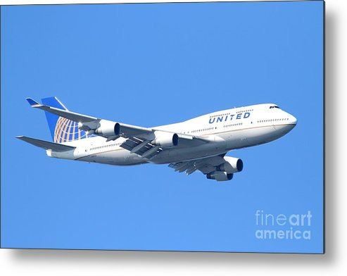 United Airlines Boeing 747 . 7d7850 Metal Print by Wingsdomain Art and Photography