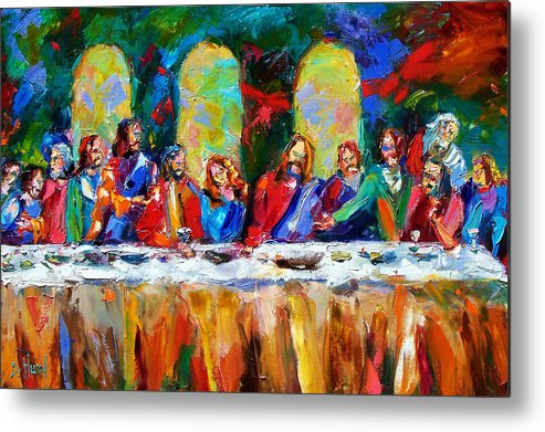 Last Supper Metal Print featuring the painting Who Among Us by Debra Hurd