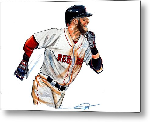 Dustin Pedroia Metal Print featuring the painting Dustin Pedroia by Dave Olsen