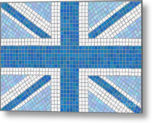 Background Metal Print featuring the digital art Union Jack Blue by Jane Rix